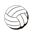 silhouette monochrome with volleyball ball vector image vector image