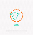 simple cute sheep thin line icon vector image vector image