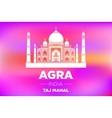 Taj Mahal in ight on pink sunrise vector image vector image