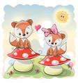 two cute cartoon foxes vector image vector image