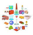 world trip icons set cartoon style vector image