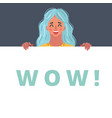 wow female face with banner vector image vector image