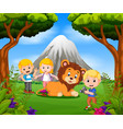 young girl and boy posing with lion vector image vector image