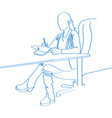 young hand drawn woman draw on laptop in office vector image vector image