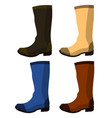 set leather boots isolated rubber shoes elements vector image