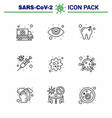 9 line viral virus corona icon pack such as virus vector image vector image