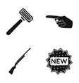 a razor an index gesture and other web icon in vector image vector image