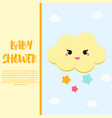 baby shower card design template with cute cloud vector image vector image