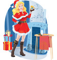 beautiful santa girl with christmas present vector image vector image