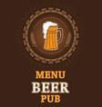 beer menu page mug with foam vector image