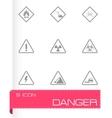 black danger icons set vector image vector image