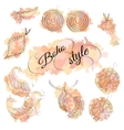 Boho style watercolor spots with jewelery vector image