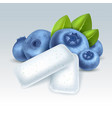 chewing gum with blueberry flavor vector image