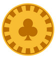 clubs suit gold casino chip vector image