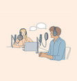 communication interview conversation podcast vector image vector image