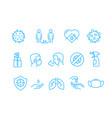 coronavirus protection campaign icons set vector image