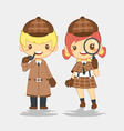 Detective man with pipe and woman with magnifier vector image vector image