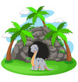 dinosaur in front of the cave vector image vector image