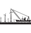 floating crane installing wind turbine in the sea vector image vector image