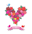 Fower love heart valentine day vector image vector image