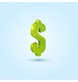 Green dollar sign isolated on blue background vector image