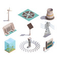 green energy isometric icons vector image vector image