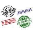 grunge textured iso 45001 certified stamp seals vector image