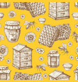 hand drawn honey seamless pattern with jars bee vector image vector image