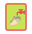 hands under falling water out tap man washes vector image vector image