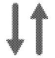 hexagon halftone exchange arrows icon vector image