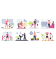 home family fitness mother father and kids vector image vector image