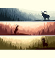 horizontal banners with goats in coniferous forest vector image