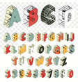 isometric line font alphabet letters three vector image