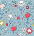 kids pattern with doodle flowers and bees vector image vector image