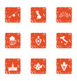 lunchtime icons set grunge style vector image vector image