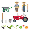 male and female farmers and equipment for work set vector image vector image
