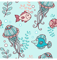 marine seamless pattern with jellyfish vector image vector image