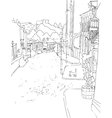 monochrome sketch city town urban vector image vector image