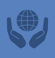 open palms with globe glyph color icon vector image