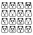 panda emotional emoji square flat faces icon vector image