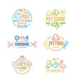 pet shop badges or labels color line art set vector image vector image