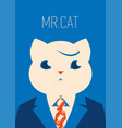 portrait of a cat in suit and tie vector image vector image
