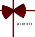 Red bow on ribbon with sample text vector image vector image