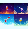 rocket launch space travel galaxy rocketship and vector image