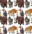 Seamless many type of wild animals vector image vector image