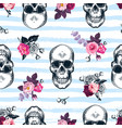 seamless pattern with human skulls and semi vector image vector image