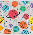 seamless pattern with planets and stars vector image vector image
