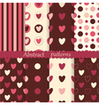 set abstract patterns with hearts vector image vector image