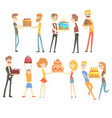 set of happy and loving people celebrating vector image