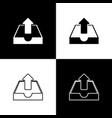 set upload inbox icons isolated on black and white vector image
